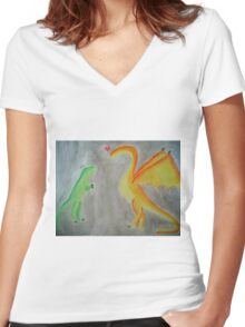 Rawrlove -- Watercolor Women's Fitted V-Neck T-Shirt