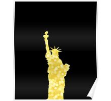 Gold Bokeh Statue of Liberty on black Poster