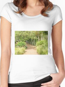 TRANQUIL COUNTRY TRAIL GET-AWAY IN ORANGE COUNTY Women's Fitted Scoop T-Shirt