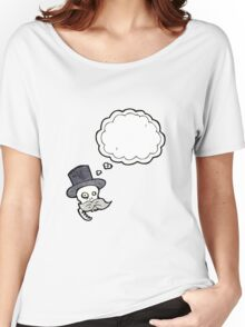 cartoon skull in top hat Women's Relaxed Fit T-Shirt