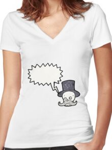 cartoon skull with mustache Women's Fitted V-Neck T-Shirt