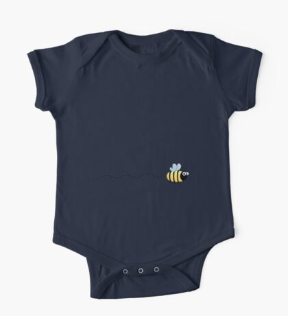 Cute bumble bee cartoon on purple background One Piece - Short Sleeve