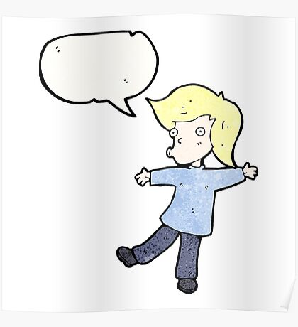 cartoon blond person balancing Poster