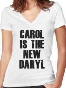 CAROL IS THE NEW DARYL (BLACK) Women's Fitted V-Neck T-Shirt