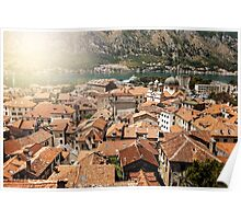 View from Mountain in Sunny Day on Kotor Bay Poster