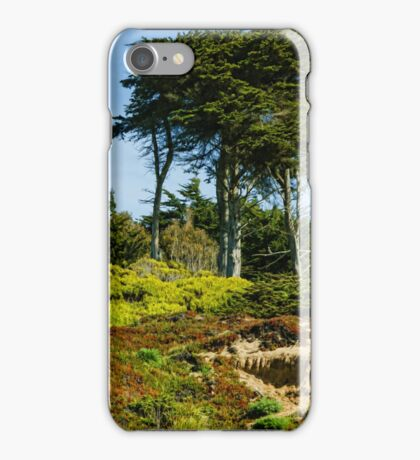 San Francisco Colorful Spring - Blooming Hillside with Pines iPhone Case/Skin
