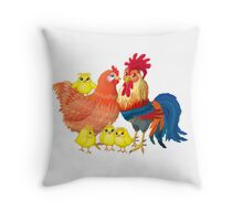 Family rooster Throw Pillow