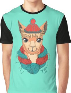 Lama in a knitted hat. Vector illustration.  Graphic T-Shirt
