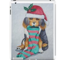 cute black and brown puppy with christmas stocking iPad Case/Skin