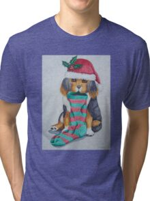 cute black and brown puppy with christmas stocking Tri-blend T-Shirt