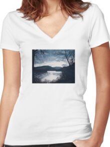 River/Trees/Water Women's Fitted V-Neck T-Shirt