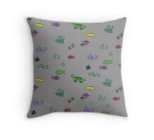 Ocean Animals - Grey Throw Pillow