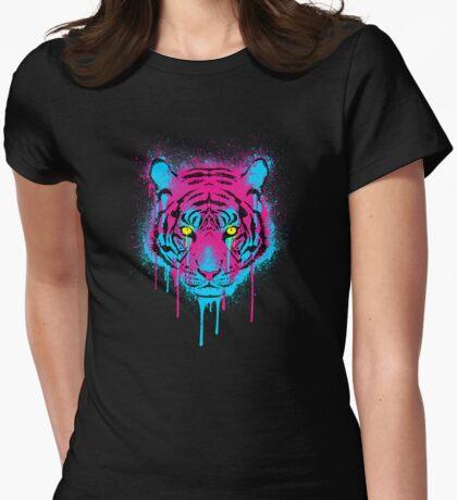 CMYK Tiger Graffiti Womens Fitted T-Shirt