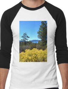 BIG BEAR LAKE WITH BRIGHT YELLOW FALL FLOWERS Men's Baseball ¾ T-Shirt