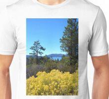 BIG BEAR LAKE WITH BRIGHT YELLOW FALL FLOWERS Unisex T-Shirt