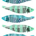 Blue and Green Fish by foxdesign