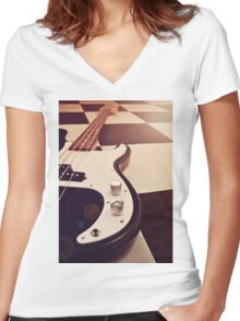 Black and white Bass Guitar. Women's Fitted V-Neck T-Shirt