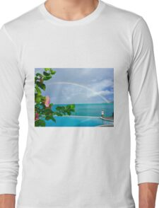 Rainbow over Hibiscus Long Sleeve T-Shirt