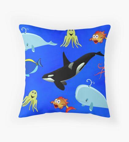 Kids ocean world Throw Pillow