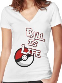Poke-Ball is Life Women's Fitted V-Neck T-Shirt
