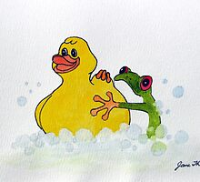 Frog and Rubber Ducky by Jane Thuss