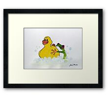 Frog and Rubber Ducky Framed Print