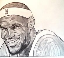 Lebron James, Miami Heat drawing by RobCrandall