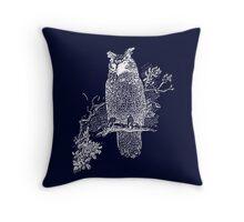 Great Horned Owl Illustration Throw Pillow