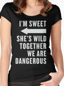 I'm Sweet She's Wild Together We Are Dangerous Best Friends Shirts White Ink - Bff, besties quotes Women's Fitted Scoop T-Shirt