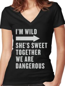 I'm Wild She's Sweet Together We Are Dangerous Best Friends Shirts White Ink - Bff, besties quotes Women's Fitted V-Neck T-Shirt