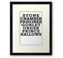 Stone Chamber Prisoner Goblet Order Prince Hallows - Harry Potter Books, List of Harry Potter Books, Harry Potter Shirt Framed Print
