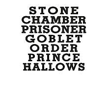Stone Chamber Prisoner Goblet Order Prince Hallows - Harry Potter Books, List of Harry Potter Books, Harry Potter Shirt Photographic Print
