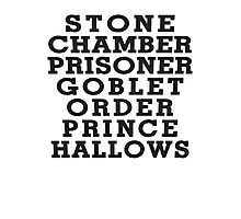 Stone Chamber Prisoner Goblet Order Prince Hallows - Harry Potter Books, List of Harry Potter Books, Harry Potter Shirt Photographic Print