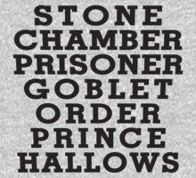 Stone Chamber Prisoner Goblet Order Prince Hallows - Harry Potter Books, List of Harry Potter Books, Harry Potter Shirt by ABFTs