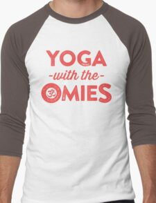 Yoga With The Omies - Yoga Top, Funny Yoga Quote, Red Ink Men's Baseball ¾ T-Shirt