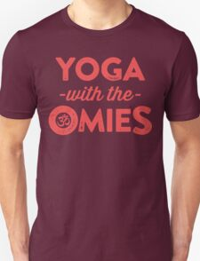 Yoga With The Omies - Yoga Top, Funny Yoga Quote, Red Ink T-Shirt