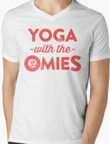 Yoga With The Omies - Yoga Top, Funny Yoga Quote, Red Ink Mens V-Neck T-Shirt