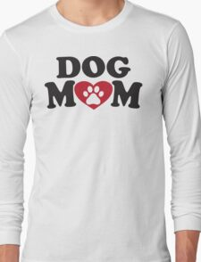 Dog Mom - Paw Print Red Heart Dog Lovers Shirt Long Sleeve T-Shirt