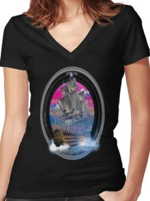 fotogradia de barco zoom Women's Fitted V-Neck T-Shirt