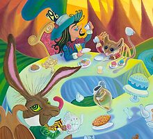 A mad tea-party - Hatter, March Hare and Dormouse (Phone & Tablet Cases - Laptop Skins) by Wil Zender