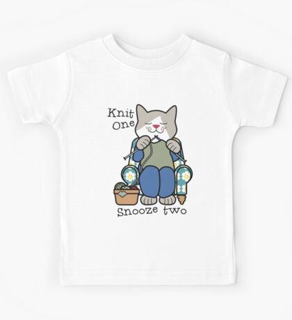 Knit One Snooze Two Knitting Kitty Kids Tee
