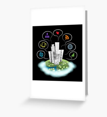 City on a cloud with communication icons.  Greeting Card