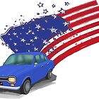 Iconic Ford Escort From the 70s with the American Flag behind - illustration by ibadishi