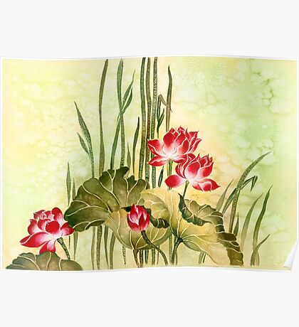 Lotuses in the Grass Poster