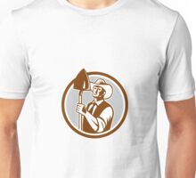 Organic Farmer Shovel Circle Woodcut Unisex T-Shirt