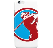 Golfer Tee Off Golf Circle Woodcut iPhone Case/Skin