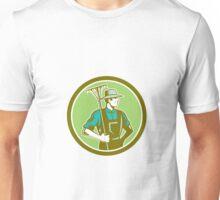 Organic Farmer Rake Woodcut Retro Unisex T-Shirt