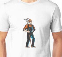 Organic Farmer Standing Rake Woodcut Unisex T-Shirt