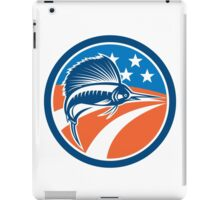 Sailfish Fish Jumping American Flag Circle Retro iPad Case/Skin