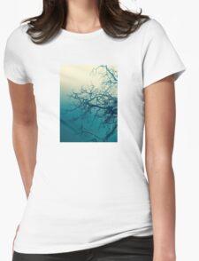 Tree in fog at Cataract Gorge Launceston Tasmania Womens Fitted T-Shirt